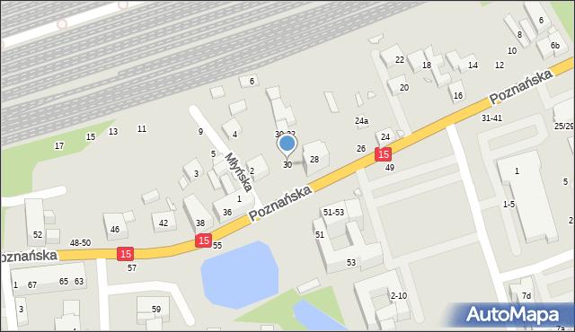 Toruń, Poznańska, 30, mapa Torunia