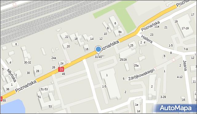 Toruń, Poznańska, 31-41, mapa Torunia