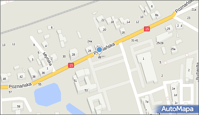 Toruń, Poznańska, 49, mapa Torunia