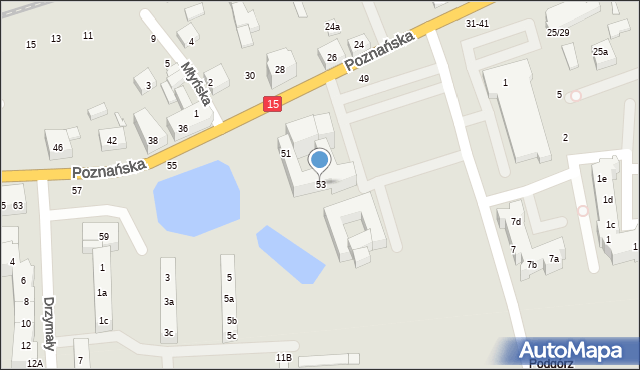 Toruń, Poznańska, 53, mapa Torunia