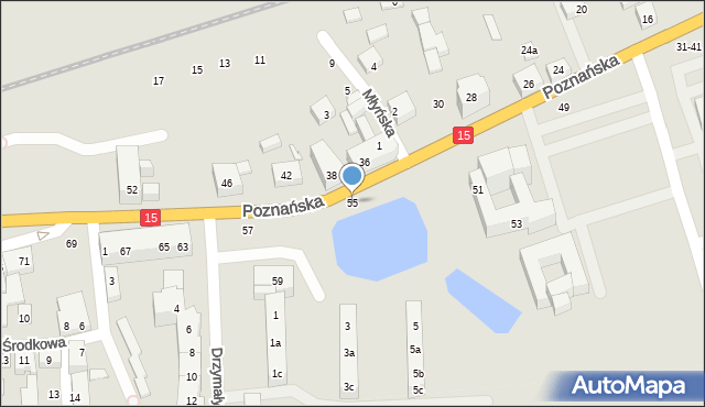 Toruń, Poznańska, 55, mapa Torunia