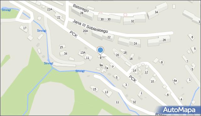 Ustrzyki Dolne, Polskiego Czerwonego Krzyża, 9, mapa Ustrzyki Dolne
