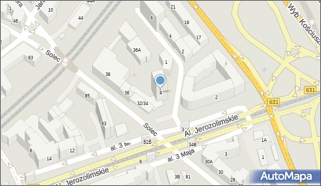 Warszawa, Potockiego Ignacego, 4, mapa Warszawy