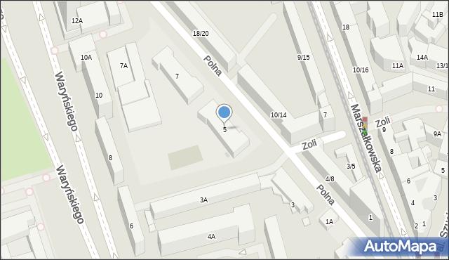 Warszawa, Polna, 5, mapa Warszawy