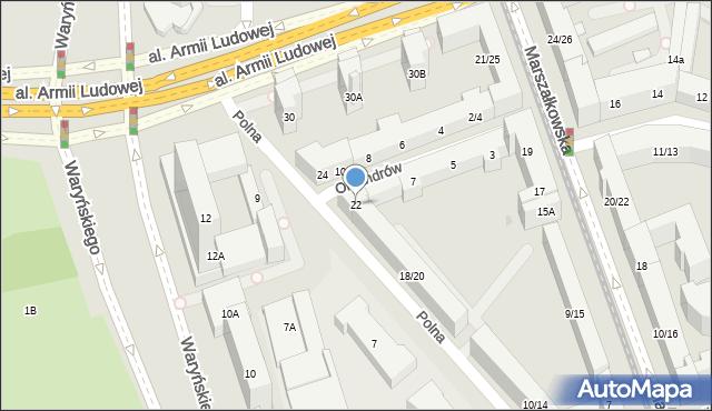 Warszawa, Polna, 22, mapa Warszawy