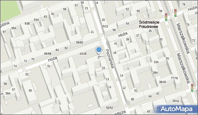 Warszawa, Poznańska, 17, mapa Warszawy