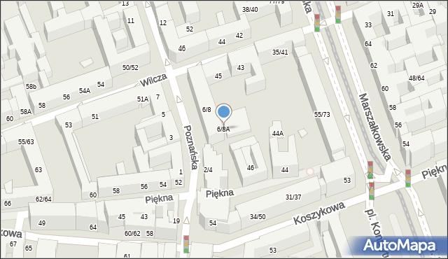 Warszawa, Poznańska, 6/8A, mapa Warszawy