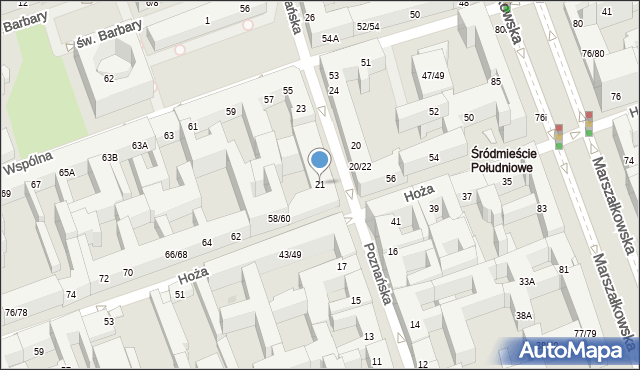 Warszawa, Poznańska, 21, mapa Warszawy