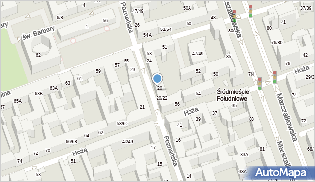 Warszawa, Poznańska, 22, mapa Warszawy