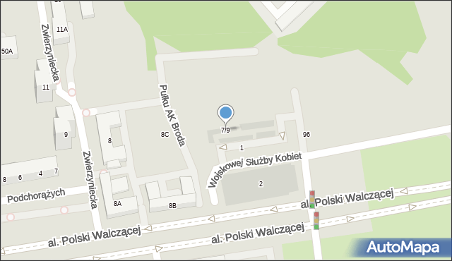 Warszawa, Podchorążych, 7/9, mapa Warszawy