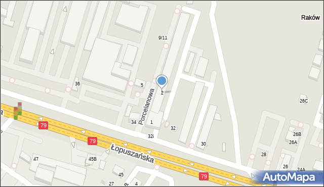 Warszawa, Porcelanowa, 2, mapa Warszawy