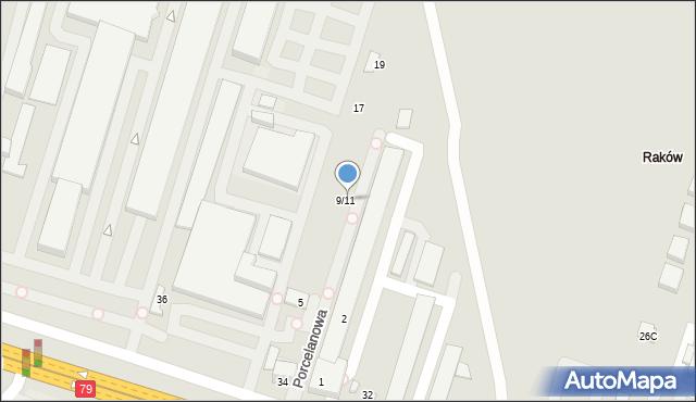 Warszawa, Porcelanowa, 9/11, mapa Warszawy
