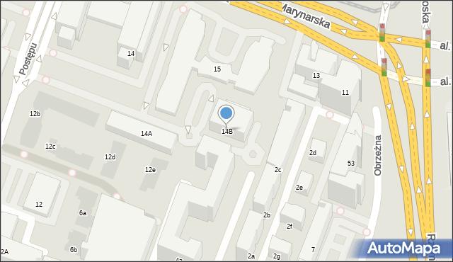 Warszawa, Postępu, 14B, mapa Warszawy