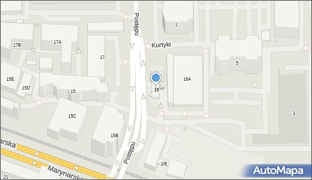 Warszawa, Postępu, 16, mapa Warszawy