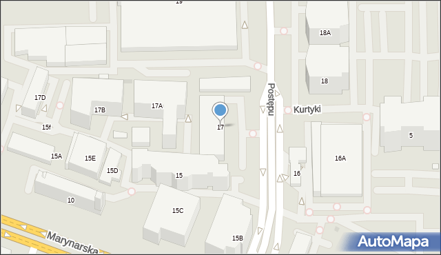 Warszawa, Postępu, 17, mapa Warszawy
