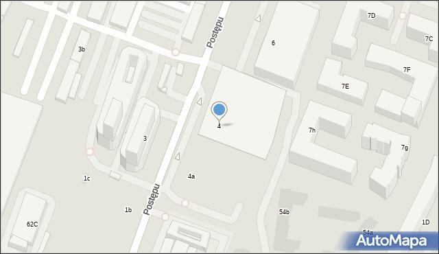 Warszawa, Postępu, 4, mapa Warszawy
