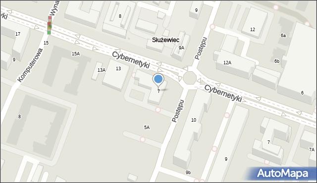 Warszawa, Postępu, 7, mapa Warszawy
