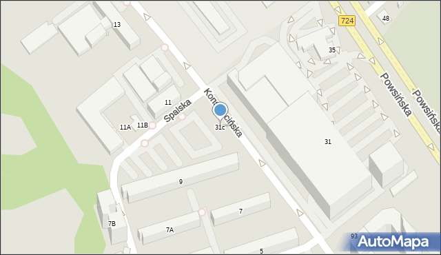 Warszawa, Powsińska, 31c, mapa Warszawy