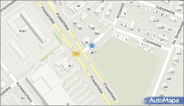 Warszawa, Powsińska, 48, mapa Warszawy