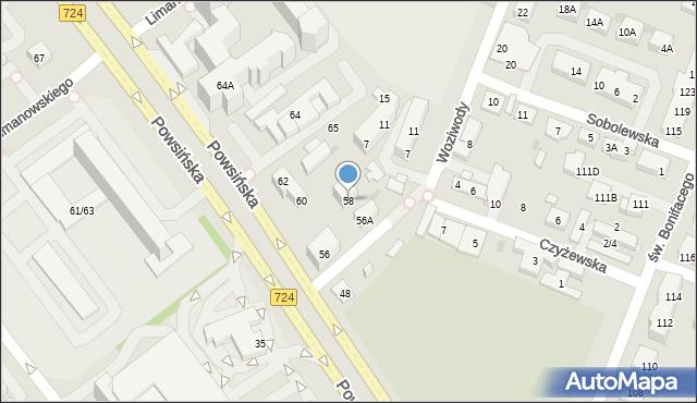 Warszawa, Powsińska, 58, mapa Warszawy