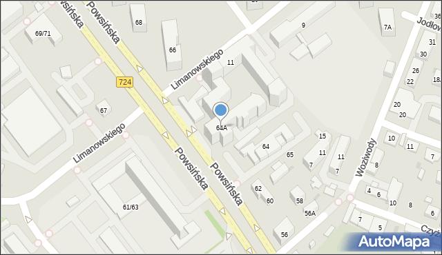 Warszawa, Powsińska, 64A, mapa Warszawy