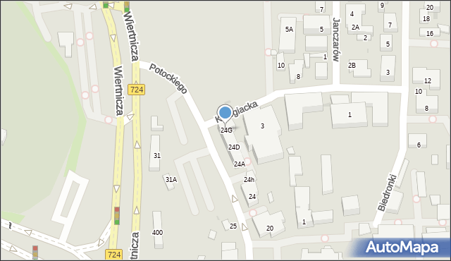 Warszawa, Potockiego Stanisława Kostki, 24G, mapa Warszawy