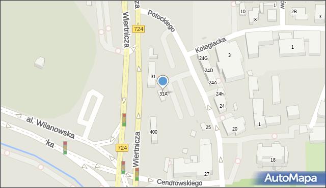 Warszawa, Potockiego Stanisława Kostki, 31A, mapa Warszawy