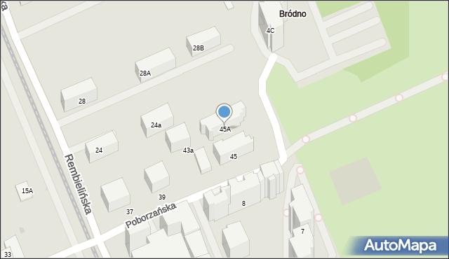 Warszawa, Poborzańska, 45A, mapa Warszawy