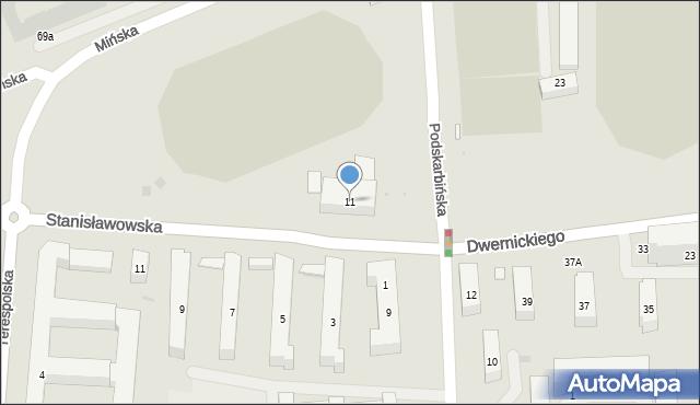 Warszawa, Podskarbińska, 11, mapa Warszawy