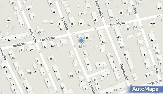Warszawa, Poselska, 22A, mapa Warszawy