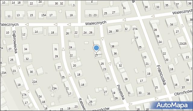 Warszawa, Poselska, 27, mapa Warszawy