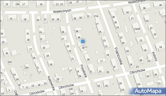 Warszawa, Poselska, 32, mapa Warszawy