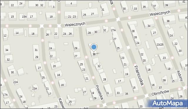 Warszawa, Poselska, 36, mapa Warszawy