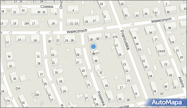 Warszawa, Poselska, 38, mapa Warszawy