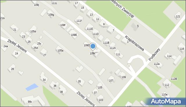 Warszawa, Podkowy, 109c, mapa Warszawy