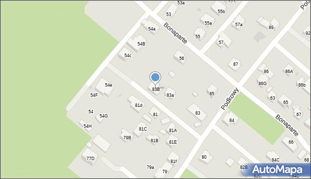 Warszawa, Podkowy, 83B, mapa Warszawy