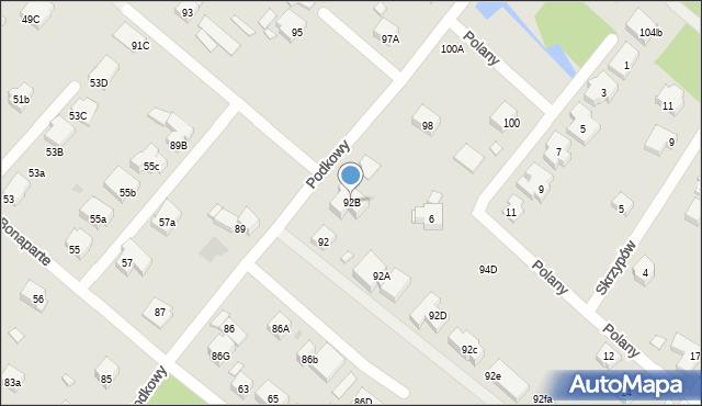 Warszawa, Podkowy, 92B, mapa Warszawy
