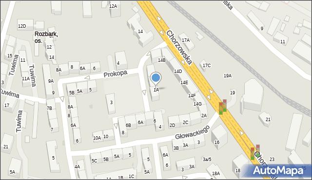 Bytom, Prokopa Wilhelma, 1A, mapa Bytomia
