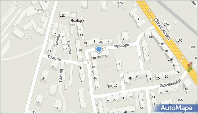 Bytom, Prokopa Wilhelma, 5A, mapa Bytomia