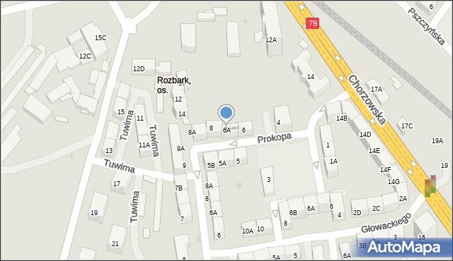 Bytom, Prokopa Wilhelma, 6A, mapa Bytomia