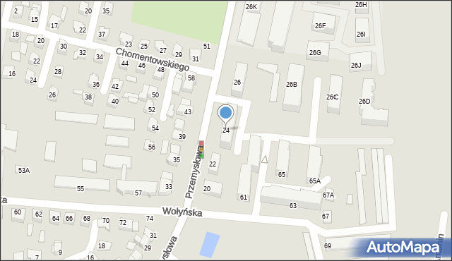 Chełm, Przemysłowa, 24, mapa Chełma