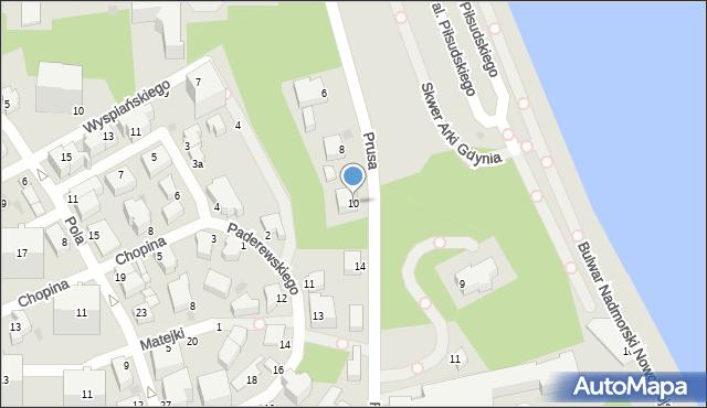 Gdynia, Prusa Bolesława, 10, mapa Gdyni