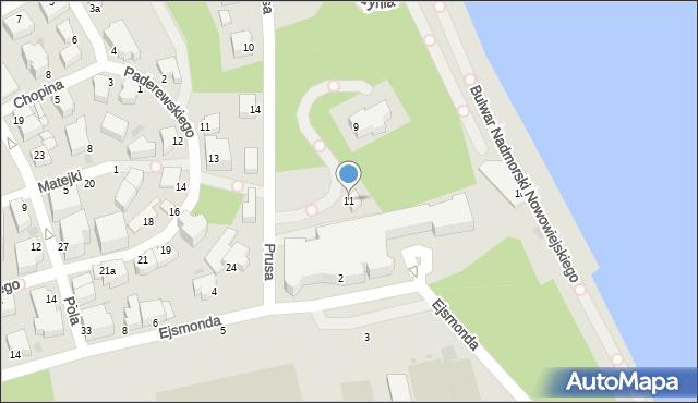 Gdynia, Prusa Bolesława, 11, mapa Gdyni