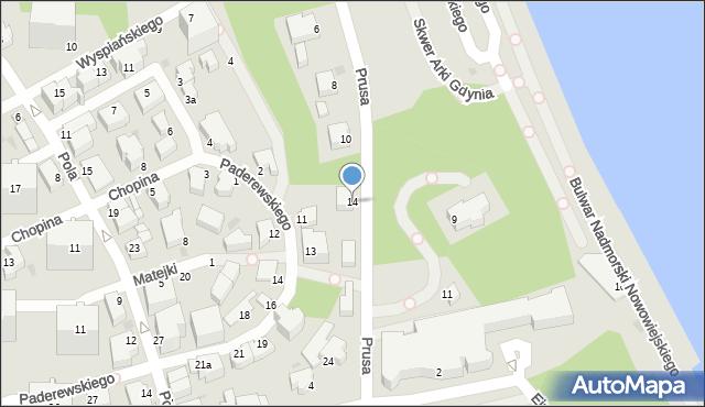 Gdynia, Prusa Bolesława, 14, mapa Gdyni