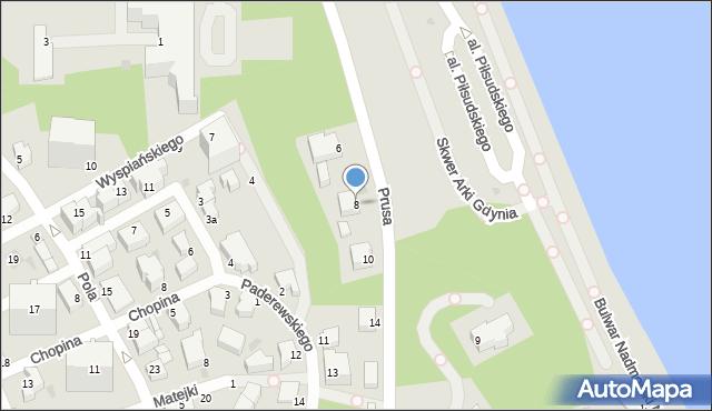 Gdynia, Prusa Bolesława, 8, mapa Gdyni