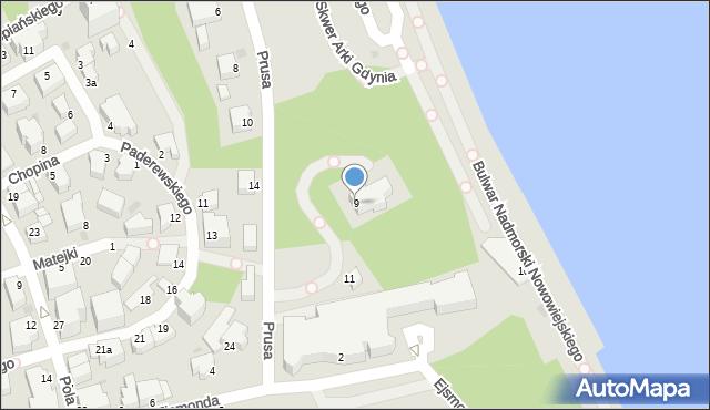 Gdynia, Prusa Bolesława, 9, mapa Gdyni