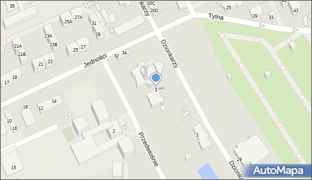 Gliwice, Przedwiośnie, 1, mapa Gliwic