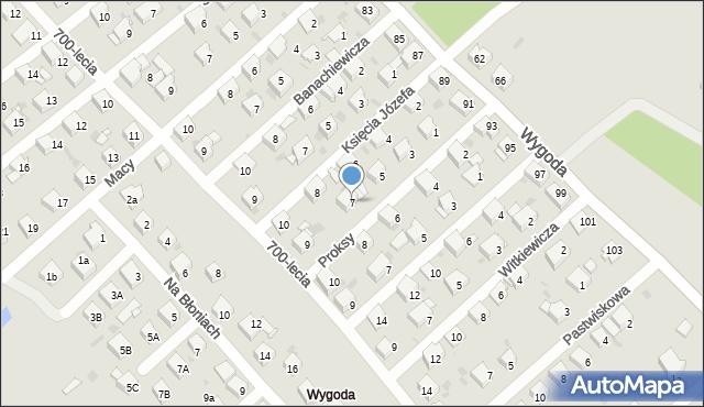 Jaworzno, Proksy Romana, 7, mapa Jaworzno