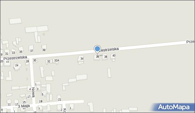 Jedwabne, Przestrzelska, 36, mapa Jedwabne