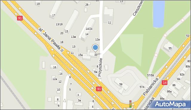 Łódź, Przyszkole, 10, mapa Łodzi